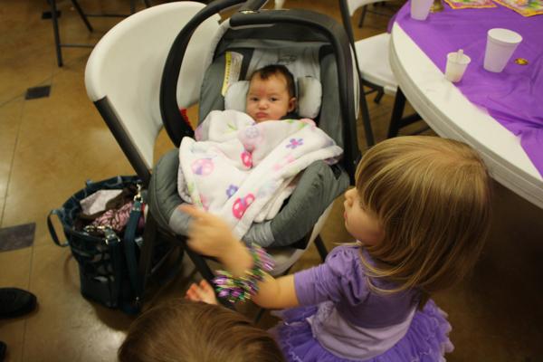 Meeting her God-niece, Adeline